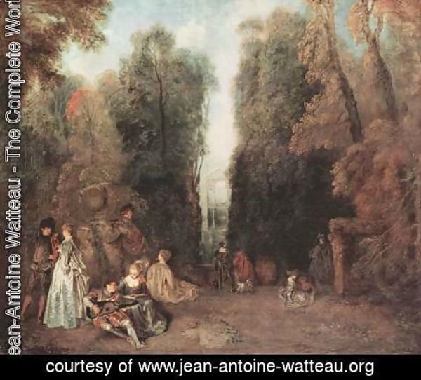 Jean-Antoine Watteau - La Perspective (View through the Trees in the Park of Pierre Crozat) c. 1715