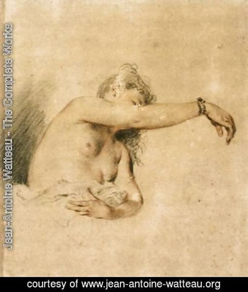 Jean-Antoine Watteau - Nude with Right Arm Raised 1717-18