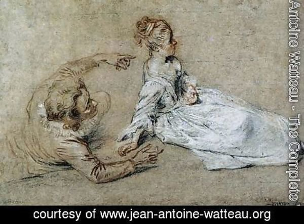 Jean-Antoine Watteau - Sitting Couple c. 1716