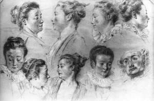 Jean-Antoine Watteau - Studies of Women's Heads