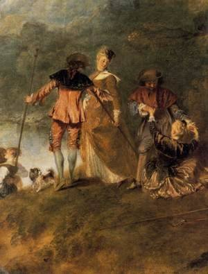 Jean-Antoine Watteau - The Embarkation for Cythera (detail) 1717
