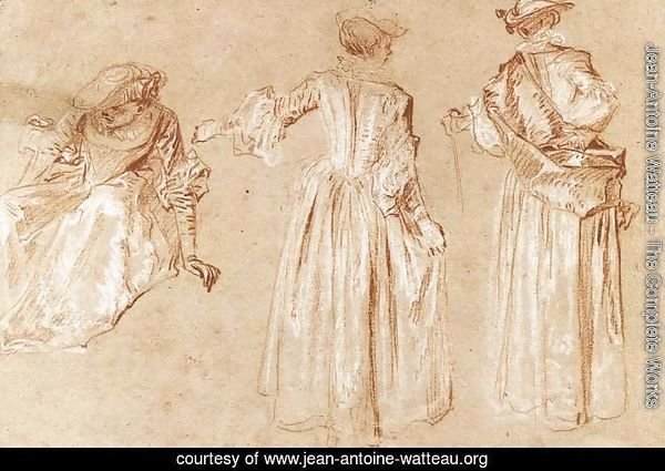 Three Studies of a Lady with a Hat c. 1715