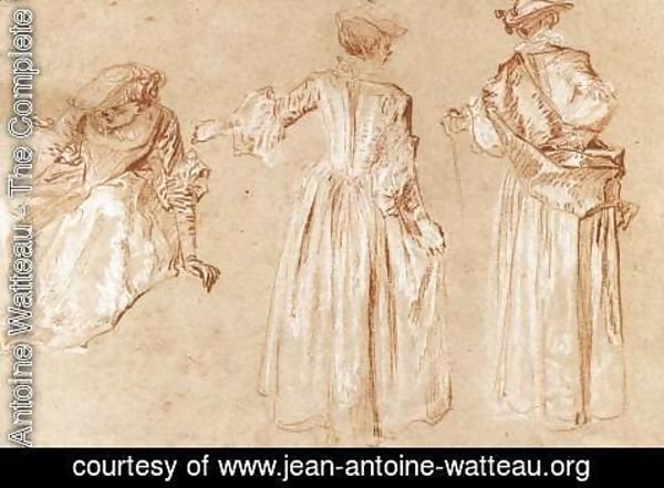 Jean-Antoine Watteau - Three Studies of a Lady with a Hat c. 1715