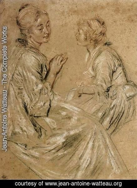 Jean-Antoine Watteau - Two Seated Women 1716-17