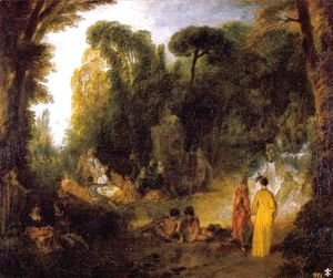 Jean-Antoine Watteau - Gathering by the Fountain of Neptune 1714