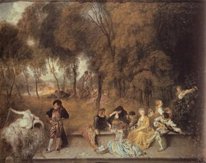 Jean-Antoine Watteau - Reunion en plein air (Meeting in the open air)