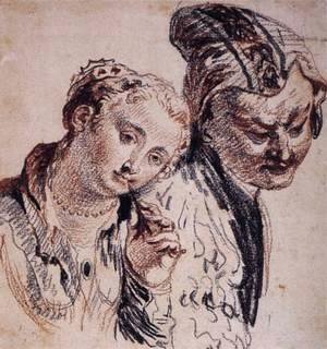 Jean-Antoine Watteau - Sketch with Two Figures