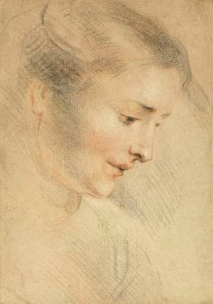 Jean-Antoine Watteau - Study of a Woman's Head