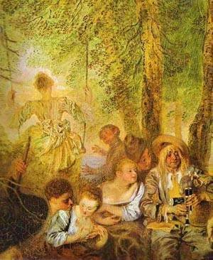 Jean-Antoine Watteau - The Shepherds Detail 1 1717-19