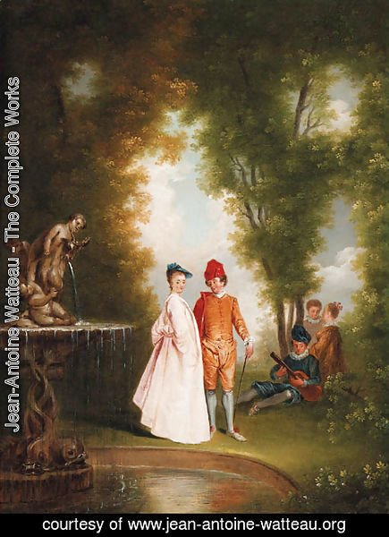 Jean-Antoine Watteau - An elegant couple by a sculpted fountain