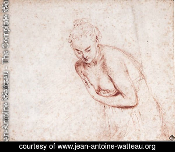 Jean-Antoine Watteau - A female nude, half-length, in a shift leaning forward with her hands concealing her breasts