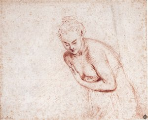 A female nude, half-length, in a shift leaning forward with her hands concealing her breasts