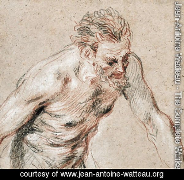 Jean-Antoine Watteau - A satyr, half-length, leaning forward to the right