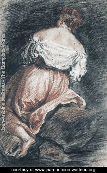 Jean-Antoine Watteau - A seated woman seen from behind, after Bassano