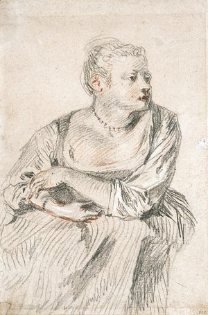 A seated woman with a generous dcollet, her arms folded on her lap, looking to the right