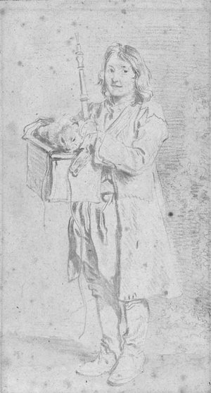 A young Savoyard holding an oboe and a marmot in its case