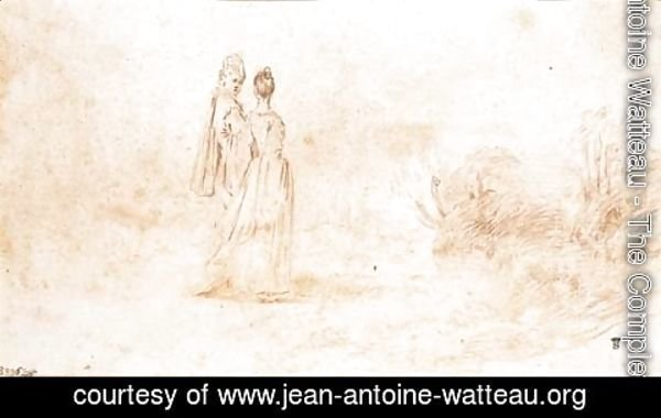 Jean-Antoine Watteau - An elegant couple walking in an extensive landscape