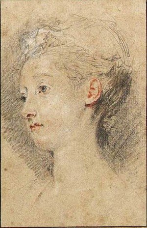 Jean-Antoine Watteau - Head of a young girl turned to the left