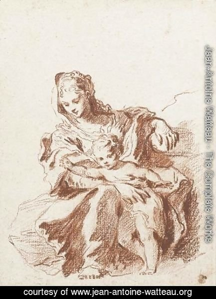 Jean-Antoine Watteau - The Virgin and Child, after Schedoni