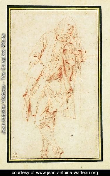 Jean-Antoine Watteau - A Man leaning against a Pillar