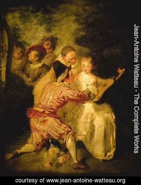 Jean-Antoine Watteau - Le Conteur Artists from the Commedia dell'Arte in a landscape