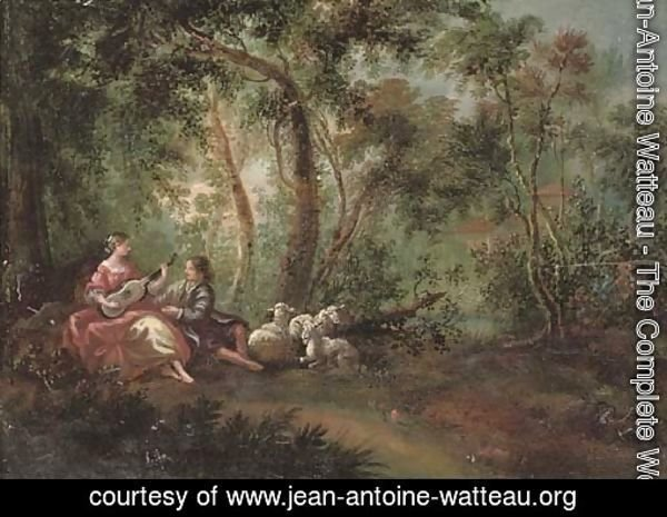 A wooded river landscape with a shepherd and shepherdess making music