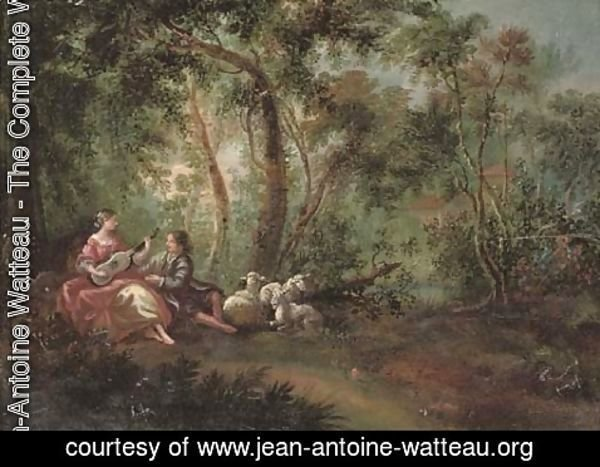 Jean-Antoine Watteau - A wooded river landscape with a shepherd and shepherdess making music