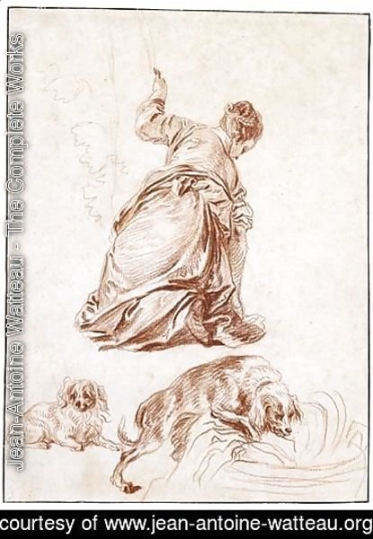 Jean-Antoine Watteau - A Kneeling Woman, After Veronese, And Two Studies Of Dogs, One After Rubens