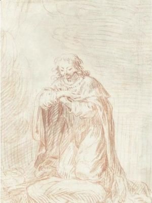 Jean-Antoine Watteau - Man Kneeling In Prayer (Saint Louis)