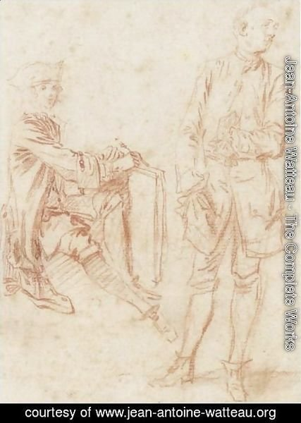Two Figures A Draughtsman Seated Holding A Portfolio, Another Standing With His Hand In His Pocket