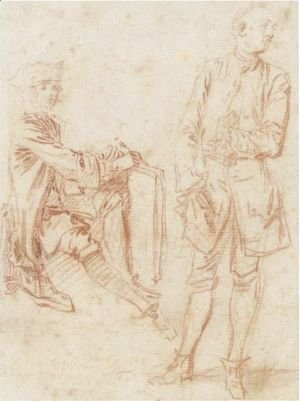 Jean-Antoine Watteau - Two Figures A Draughtsman Seated Holding A Portfolio, Another Standing With His Hand In His Pocket