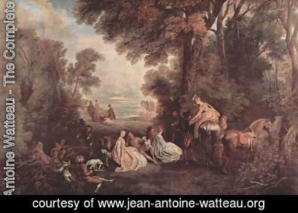 Jean-Antoine Watteau - Meeting on the hunting (Rendez-vous de chasse)