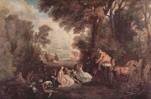 Jean-Antoine Watteau - The Halt during the Chase