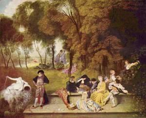 Jean-Antoine Watteau - Merry Company in the Open Air 1716-19
