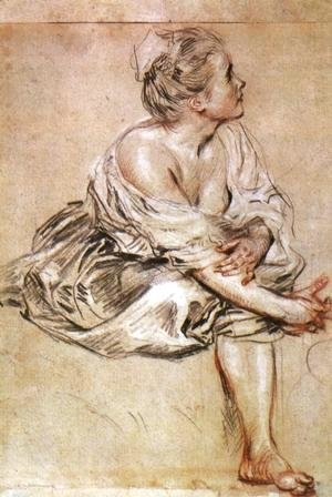 Jean-Antoine Watteau - Young Woman Seated