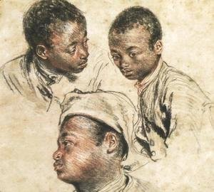 Jean-Antoine Watteau - Three Studies of the Head of a Young Negro