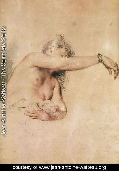 Jean-Antoine Watteau - Female Nude with Right Arm Raised